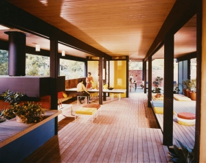 Buff, Straub & Hensman (1955-1961, later Buff, Hensman and Associates). Recreation pavilion, Mirman House, Arcadia, 1958. Photo by Julius Shulman, 1959. Getty Research Institute