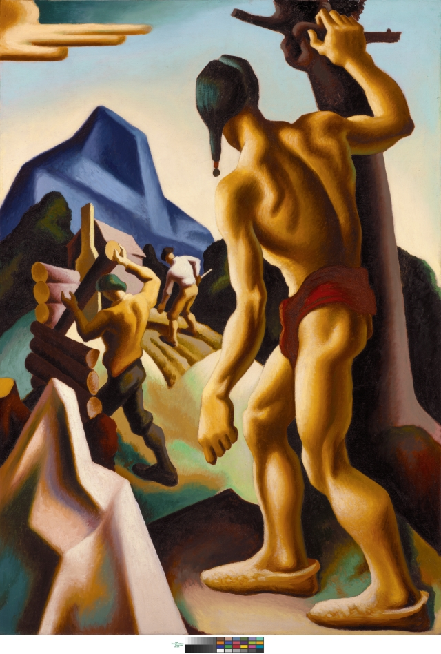 Thomas Hart Benton The Lost Hunting Ground, 1927–28 From the mural series American Historical Epic, 1920–28 Oil on canvas 60 1⁄4 × 42 1⁄8 in. (153 × 107 cm) The Nelson-Atkins Museum of Art, Kansas City, Missouri, Bequest of the Artist, F75-21/10 Photo by Jamison Miller. Art © T.H. Benton and R.P. Benton Testamentary Trusts/UMB Bank Trustee/Licensed by VAGA, New York, NY