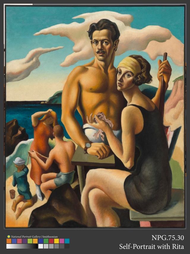 Thomas Hart Benton Self Portrait With Rita, 1922 Oil on canvas 49 × 39 3⁄8 in. (124.5 × 99.9 cm) National Portrait Gallery, Smithsonian Institution, Washington, Gift of Mr. and Mrs. Jack H. Mooney, NPG.75.30 Photo courtesy of National Portrait Gallery, Smithsonian Institution/Art Resource, NY. Art © T.H. Benton and R.P. Benton Testamentary Trusts/UMB Bank Trustee/Licensed by VAGA, New York, NY
