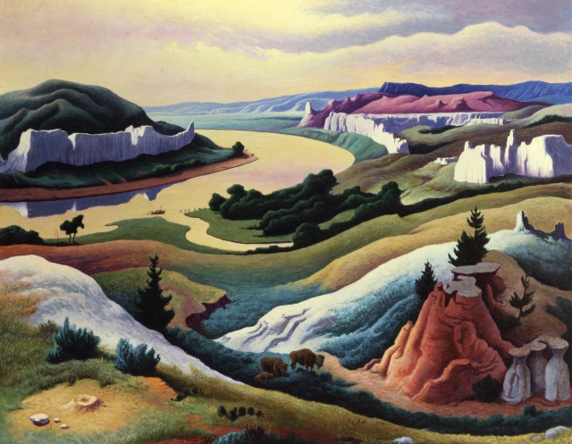 Thomas Hart Benton Lewis and Clark at Eagle Creek, 1967 Polymer and tempera on Masonite panel 30 1/2 x 38 in. (77.5 x 96.5 cm) Courtesy of the Eiteljorg Museum of American Indians and Western Art, Indianapolis, Indiana, 1989.2.10. Art © T.H. Benton and R.P. Benton Testamentary Trusts/UMB Bank Trustee/Licensed by VAGA, New York, NY