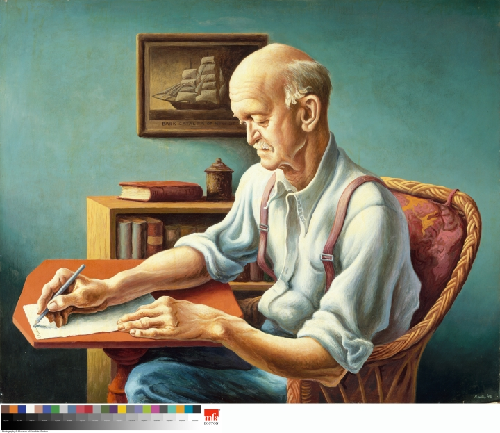 Thomas Hart Benton New England Editor, 1946 Oil and tempera on gessoed panel 30 × 37 in. (76.2 × 94 cm) Museum of Fine Arts, Boston, The Hayden Collection— Charles Henry Hayden Fund, 46.1456 Art © T.H. Benton and R.P. Benton Testamentary Trusts/UMB Bank Trustee/Licensed by VAGA, New York, NY