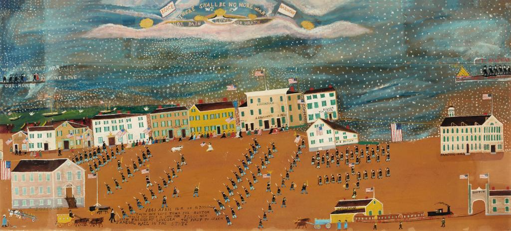 J.O.J. Frost, The March into Boston from Marblehead, April 16, 1861: There Shall be No More War, about 1925. Oil on fiberboard. Gift of Peter S. Lynch in memory of Carolyn A. Lynch. Photography by Kathy Tarantola/Peabody Essex Museum